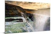 Zonsondergang bij de Gullfoss waterval in IJsland Aluminium 60x40 cm - Foto print op Aluminium (metaal wanddecoratie)