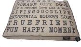 Lex & max tekst urban losse hoes voor hondenkussen boxbed  90x65x9cm zand
