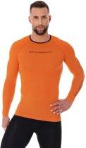 Brubeck | 3D PRO Heren Seamless Hardloopshirt - Sportshirt - Lange Mouw - Oranje - S