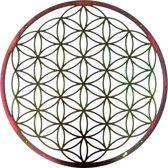Metalen Wanddecoratie - Flower of Life - 75cm - Olieachtige gloed