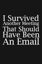 I Survived Another Meeting That Should Have Been An Email: Blank lined funny journal for your busy mom and dad. Gag Gift for coworkers at the office.