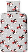 Good Morning Pinguins - Flanel - Dekbedovertrek - Junior - 120x150 cm + 1 kussensloop 60x70 cm - Grijs
