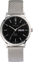 Renard Elite Day Date Black Milanese Silver RD381SS30MSS - Horloge - Staal - Zilver - 38,5mm