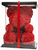 WGifts Roosbeer| Rosebear |Teddy Beer - Rozen | Roos | Bloemen |Verjaardagscadeau| Moederdag |  Liefde | Rood | 40 CM | Valentijnscadeau | Inclusief Giftbox