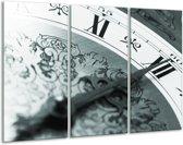 Glas schilderij Klok, Keuken | Grijs, Zwart, Groen | 120x80cm 3Luik | Foto print op Glas |  F006737