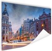 Madrid by night Poster 90x60 cm - Foto print op Poster (wanddecoratie woonkamer / slaapkamer) / Steden Poster