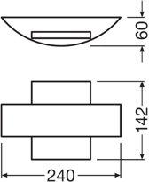 LEDVANCE O FACADE BELT SQ 11 W 3000 K IP54 GY wandverlichting Geschikt voor gebruik binnen Geschikt voor buitengebruik Grijs
