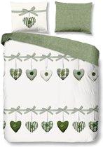 Good Morning Hearts - Dekbedovertrek - Lits-jumeaux - 240x200/220 cm + 2 kussenslopen 60x70 cm - Groen