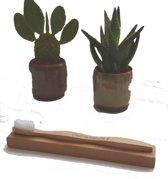 Natuurlijke Moso bamboe tandenborstel - natuurlijk afbreekbaar handvat - Medium - C'est la nature