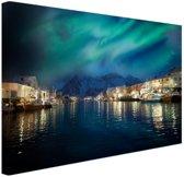 FotoCadeau.nl - Noorderlicht boven haven in Noorwegen Canvas 30x20 cm - Foto print op Canvas schilderij (Wanddecoratie)