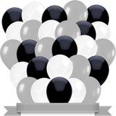 Ballonnen Zwart / Wit / Zilver  (30ST)