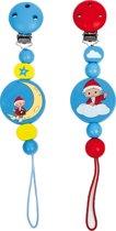 2x houten speenkoord - Klaas Vaak + clip - Geschikt voor baby's vanaf 0 maanden - 5 x 2 x 16 cm