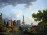 Claude Joseph Vernet : A Seashore (1767) Canvas Print