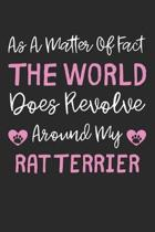 As A Matter Of Fact The World Does Revolve Around My Rat Terrier: Lined Journal, 120 Pages, 6 x 9, Rat Terrier Dog Gift Idea, Black Matte Finish (As A