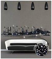 Muursticker Istanbul Skyline - zwart - zelfklevend velours - 195 x 45 cm cm