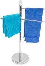 relaxdays handdoekenrek alleenstaand 3 beweegbare armen, edelstaal, verchroomd