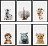 Babykamer - Posters - Safari Kamer - Kinderkamer - 6 Posters - Dieren Posters - Safari Wanddecoratie - A4 formaat 20x30 cm - Poster Babykamer - Kinderposters - Baby Dieren