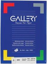 6x Gallery witte etiketten 210x148,5mm (bxh), rechte hoeken, doos a 200 etiketten
