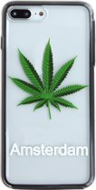 81Fox  iPhone 7 plus / 8 PLUS TPU bumper en PC black case Weed Amsterdam City souvenir Wiet Cannabis backcover Hasj gift Marijuana hoesje