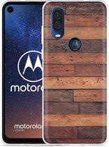 Motorola One Vision Hoesje Houten planken