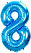 Folie Ballon Cijfer 8 Jaar Blauw 86Cm Verjaardag Folieballon Met Rietje