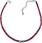 Behave® korte ketting dames met rode facet geslepen glaskralen en strass steentjes