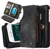 iphone 7 Vintage Lederen Portemonnee Hoesje - uitneembaar met backcover (zwart)