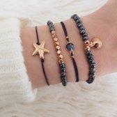 23 - Donkerblauwe kralenarmband - Blauw armbandje zeester - Kralenarmband armband met-schelpje - Set armbanden - Tibri