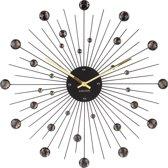 Wall clock Sunburst crystal black large