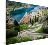 Trap met uitzicht over de Baai van Kotor in Montenegro Canvas 60x40 cm - Foto print op Canvas schilderij (Wanddecoratie woonkamer / slaapkamer)