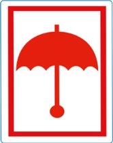 Waarschuwings etiket Rode Paraplu, 100x70mm, 500 etik/rol