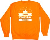 Oranje sweater Koningsdag | Happy Kingsday Willem | Maat 110-116