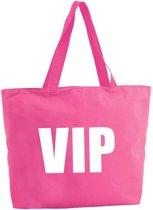 VIP shopper tas - fuchsia roze - 47 x 34 x 12,5 cm - boodschappentas / strandtas