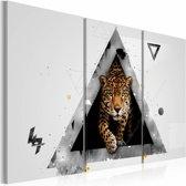 Schilderij - Cheeta , wit bruin , 3 luik