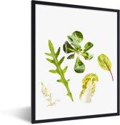 Foto in lijst - Rucola tegen een witte achtergrond fotolijst zwart 30x40 cm - Poster in lijst (Wanddecoratie woonkamer / slaapkamer)