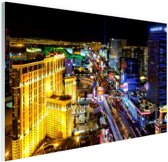 Skyline Las Vegas in de nacht Glas 90x60 cm - Foto print op Glas (Plexiglas wanddecoratie)