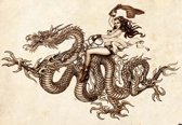 Fotobehang Dragon Tattoo   XL - 208cm x 146cm   130g/m2 Vlies
