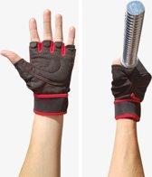 AWEMOZ® Fitnesshandschoenen - Sporthandschoenen - Zwart/Rood - Maat S