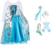 Prinses Elsa verkleedjurk maat 116/122 + staf, kroon, handschoenen, vlecht - verkleedkleding - labelmaat 130