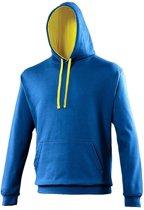 Varsity heren hoodie kobalt met gele capuchon L