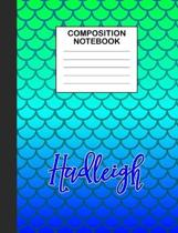 Hadleigh Composition Notebook: Wide Ruled Composition Notebook Mermaid Scale for Girls Teens Journal for School Supplies - 110 pages 7.44x9.472