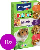 Vitakraft Hamster Kracker 3in1 Mulitvitamine/Honing/Fruit - Knaagdiersnack - 10 x 168 g