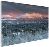 FotoCadeau.nl - Winters berglandschap Glas 60x40 cm - Foto print op Glas (Plexiglas wanddecoratie)