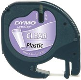 Dymo Lettertape Clear - Zwart/Transparant - 12 mm x 4m - Tape