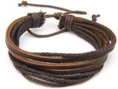 Joboly Hippe stoere mannen / heren armband verstelbaar - Heren - Bruin - 22 cm