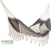 Luxe 2-persoons hangmat met franje - handgeweven -BIO katoen (GOTS) | Ecomundy Romance XL 380 - Antraciet/ecru (160x260x380cm)