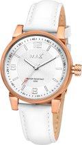 Max Lady 5 MAX623 Horloge - Leren band - Ø 38 mm - Wit / Rosékleurig / Zilverkleurig