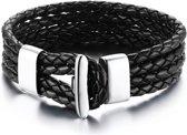 Victorious - Zwart Gevlochten Lederen Armband - Zilverkleurge Verstelbare RVS Sluiting - 16/17cm
