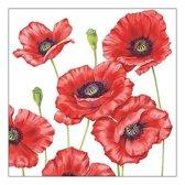 20x Klaprozen/poppy bloemen voorjaar servetten 33 x 33 cm - Papieren wegwerpservetten 3-laags