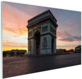 Arc de Triomphe bij zonsopkomst Glas 90x60 cm - Foto print op Glas (Plexiglas wanddecoratie)
